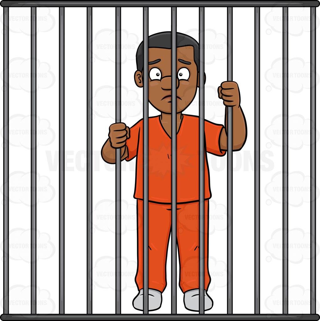 Prison clipart person Clipart Man prison behind man