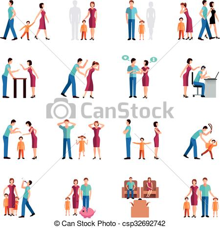 Problem clipart family problem Flat Icons of Family Icons