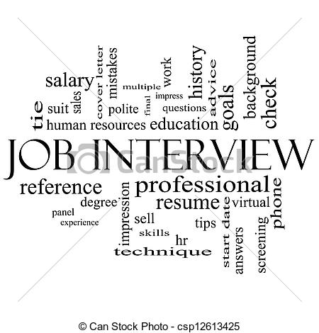 Professional clipart black and white Black Interview Job of Clip