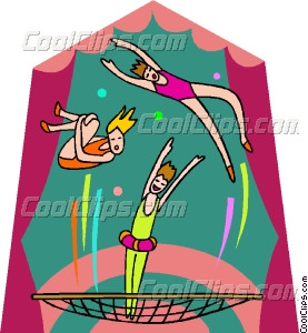 Circus clipart trampoline Girls bouncing on girls Vector