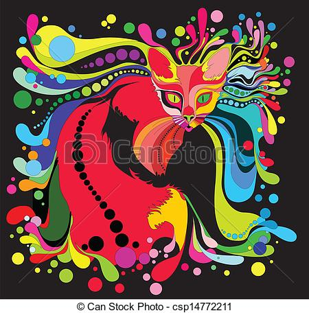 Physcedelic clipart colorful Cat psychedelic bright  with