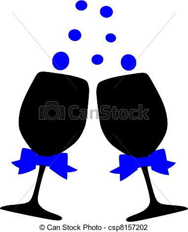 Champagne clipart cheers Illustration Cheers of Cheers glasses