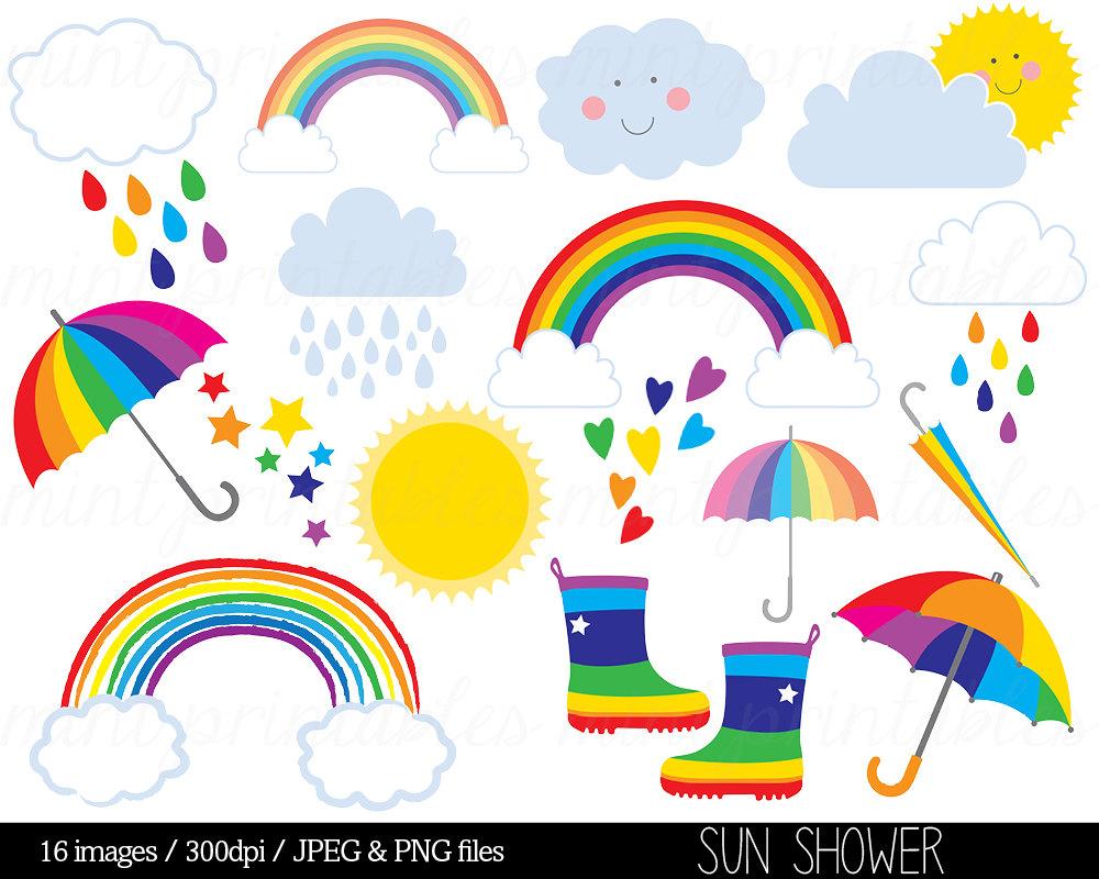 Haven clipart sun cloud Rain Etsy Rain Sky Rainbow