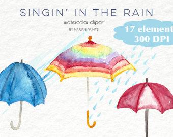 Tears clipart umbrella raindrops Puddle Art Instant Personal clipart