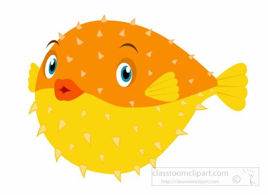 Pufferfish clipart 60 fish Size: orange yellow