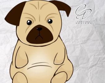 Pug clipart Use Pug Pug Etsy clip