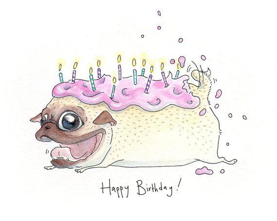 Drawn pug birthday card Strawberry pug Card Pug birthday