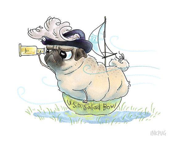 Drawn pug cute Dog Print Pug Drawing Decor