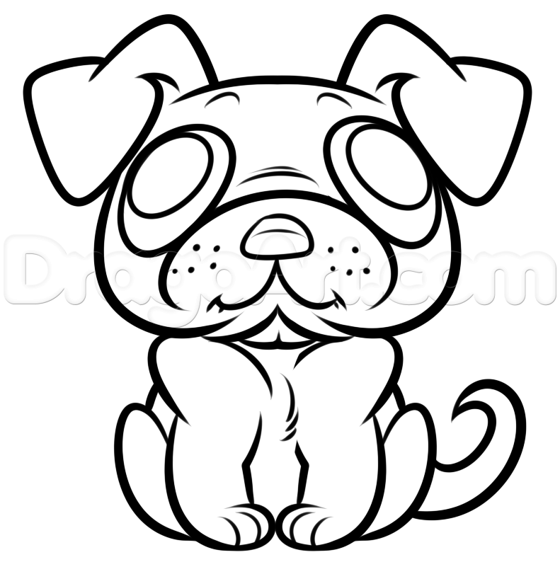Drawn pug line drawing Easy FREE draw Drawing by