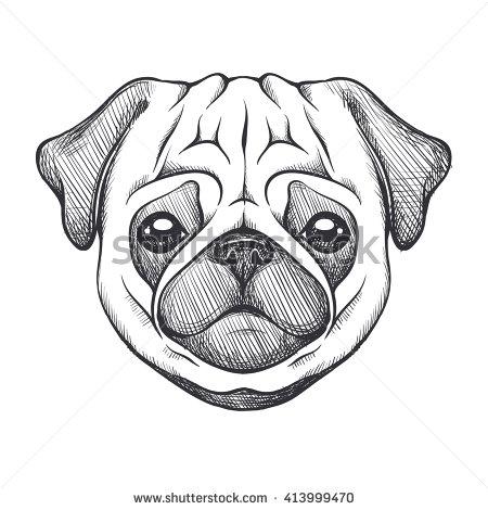 Drawn pug easy Portrait sketch pug Cute Cute