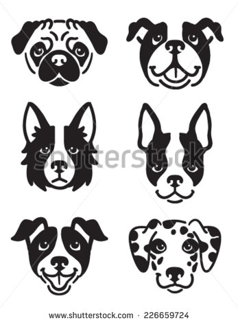 Boston Terrier clipart black and white Dog icons featuring 6 the