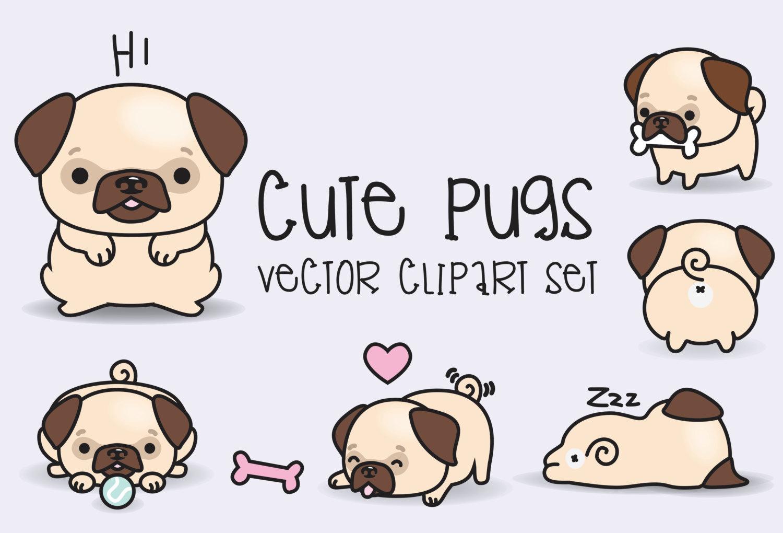 Drawn pug cute Pugs Kawaii High Quality Clipart