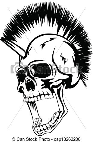 Mohawk clipart Skull of the Vector punk