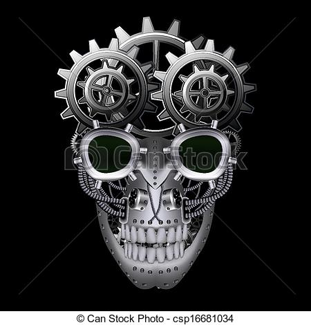 Drawn skull steampunk Skull skull csp16681034 Clip Steam