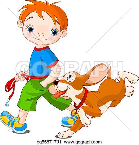 Boy clipart walking dog Dog Boy walking Clip Art