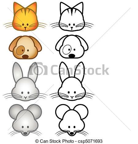 Animl clipart easy Pet Vectors of set csp5071693