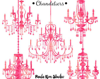 Chandelier clipart pink chandelier Silhouette Wedding Clipart Watercolor Invitation