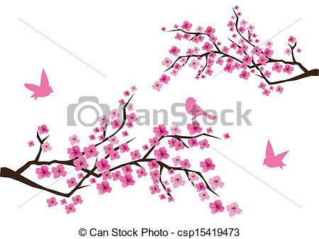 Ume Blossom clipart Illustration vector of cherry blossom