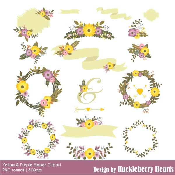 Yellow Flower clipart floral Purple Yellow Download and and