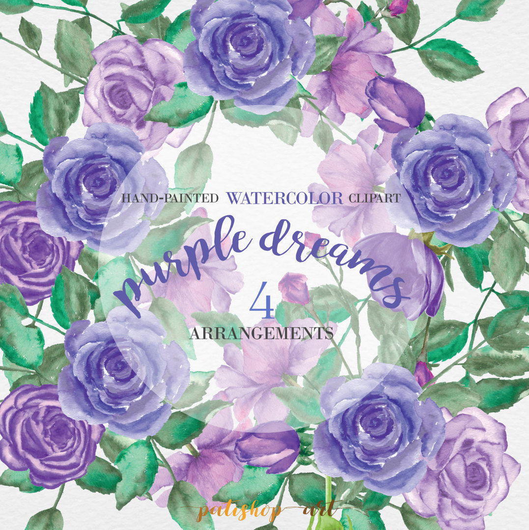 Purple Rose clipart floral Flower file is Floral Hand