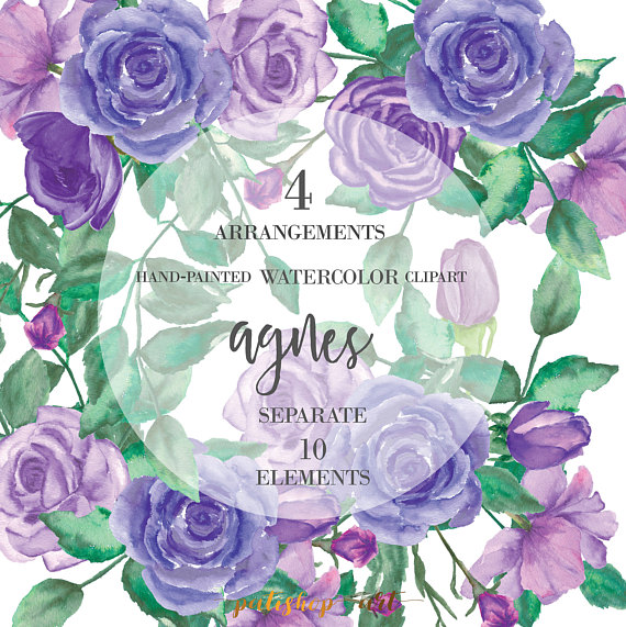 Purple Rose clipart floral Purple Floral PatishopArt Watercolor from