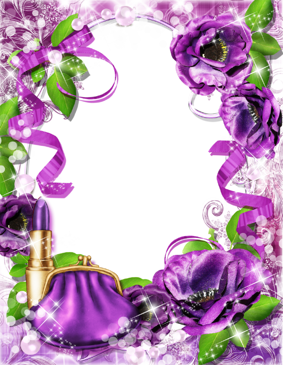Purple Rose clipart frame Ribbons and Purple Lipstick Fabric