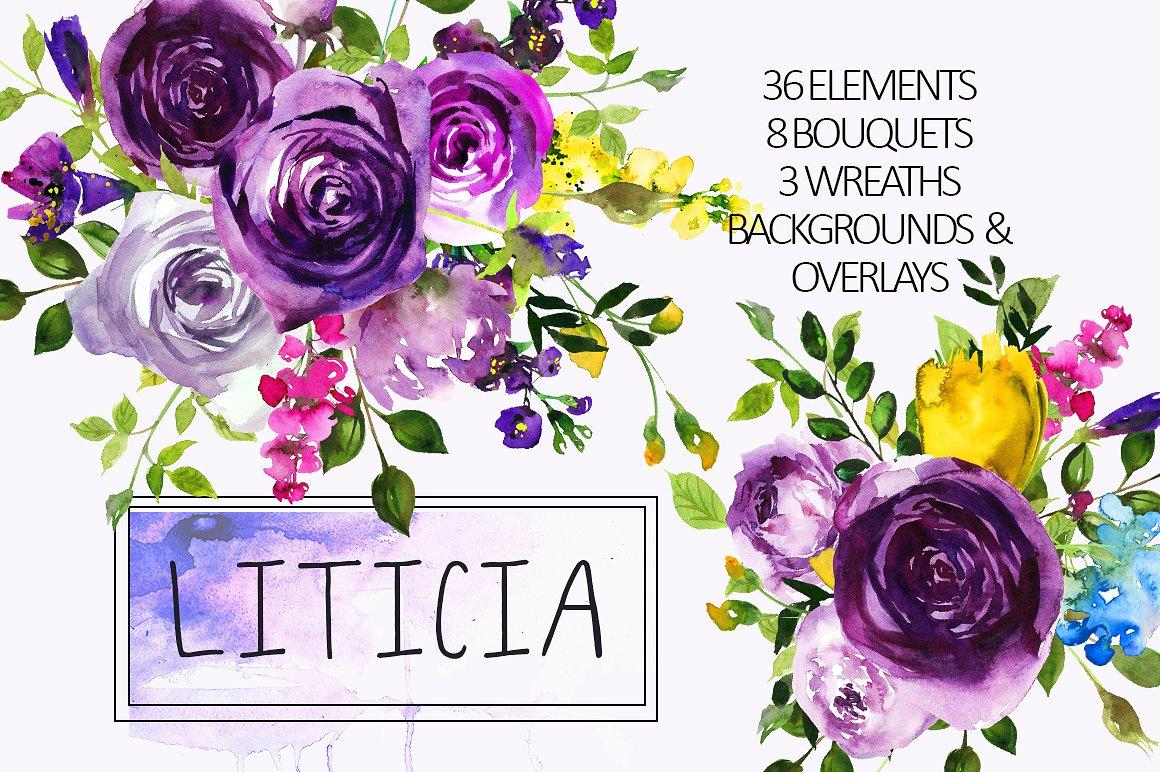 Purple Rose clipart purple bouquet By Flowers  whiteheartdesign Clipart