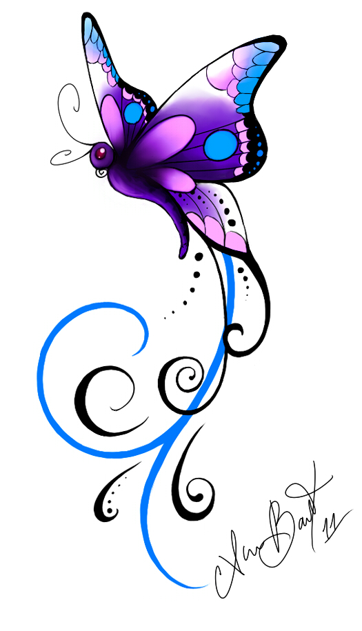 Purple Rose clipart small butterfly #14