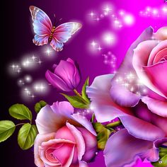 Purple Rose clipart small butterfly #3