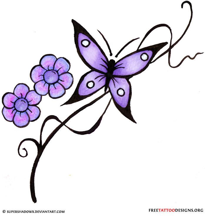 Classy clipart purple Flower Butterfly With Tattoo Butterfly