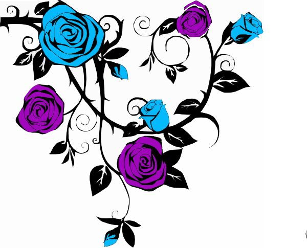 Blue Rose clipart side Art And leaves clip on