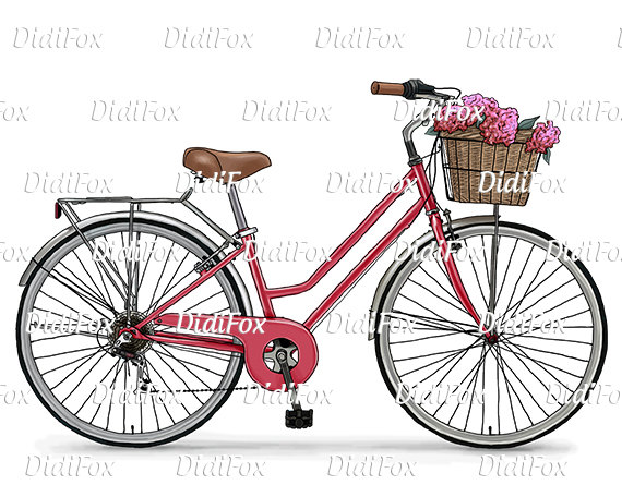 Bicycle clipart retro bike Vintage Printable Instant Bike Flower
