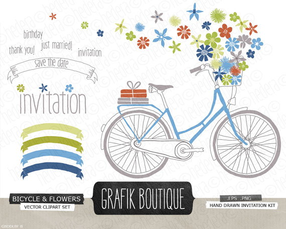 Bike clipart vector With basket basket clip vector