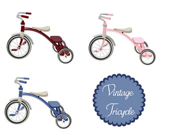 Pushbike clipart colorful Soft graphics Vintage Stickers graphics