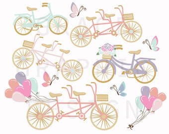 Bicycle clipart pink bike Etsy Clipart Bike graphics Bicycle