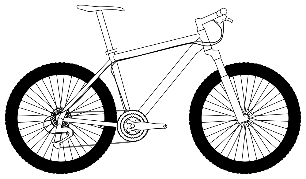 Pushbike clipart downhill Bike And White Black on