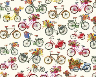 Pushbike clipart hobby Bicycle Etsy Floral Windham Fabric