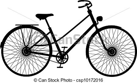 Pushbike clipart line drawing Silhouette bicycle Silhouette on csp10172016