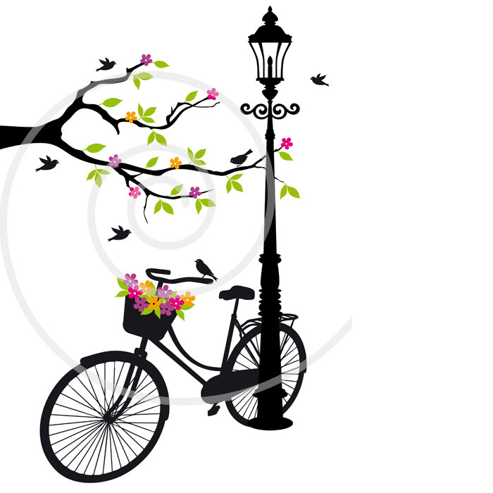 Cuckoo clipart long tailed Vintage tree with flowers bicycle