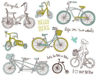 Bike clipart drawn Hand invitations Etsy commercial digital