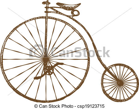 Bicycle clipart old fashioned Vector of Hand Old Art
