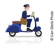 Pushbike clipart postman On black Drawing a Scooter