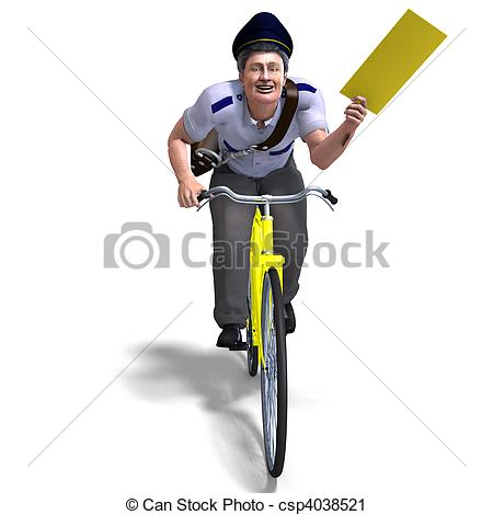 Pushbike clipart postman Rendering letter letter postman and