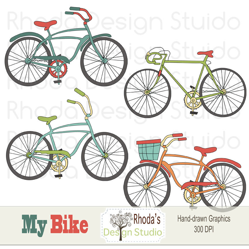 Bike clipart vintage bicycle Set Vintage Digital Clip Bikes