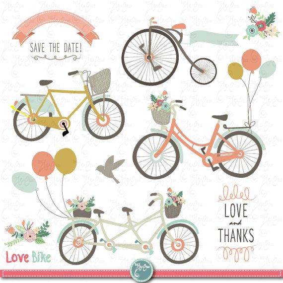 Bicycle clipart retro bike 73 Flower Flowers