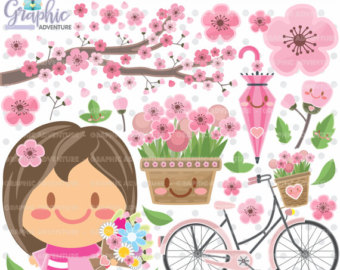 Pink Flower clipart spring tea Spring Clipart COMMERCIAL Kawaii 75%OFF