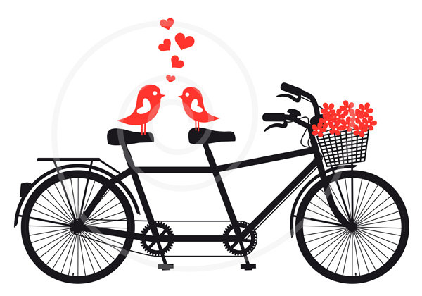 Bicycle clipart double Etsy unique love card save