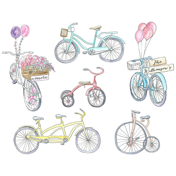 Balloon clipart bicycle // Clipart // Clipart Watercolor