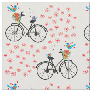 Pushbike clipart vintage bicycle Push Bike Fabric Birdies Zazzle