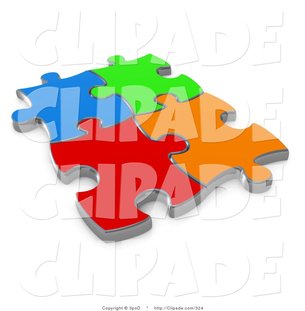Puzzle clipart colored #7